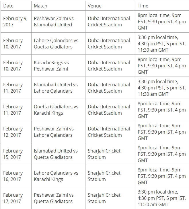 PSL 2017 Schedule Download