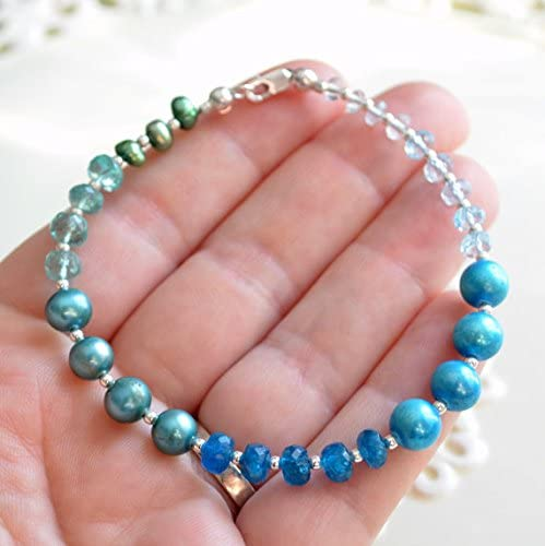 Azure color Blue Topaz, Apatite, Aquamarine Bracelet