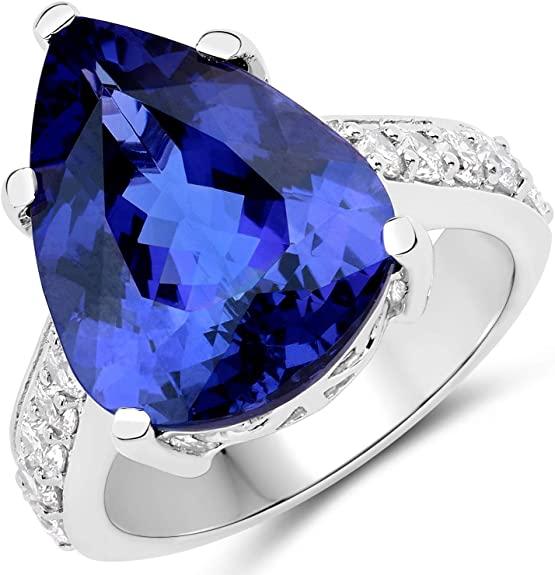 11.40 Carat Genuine Tanzanite and White Diamond 18K White Gold Ring